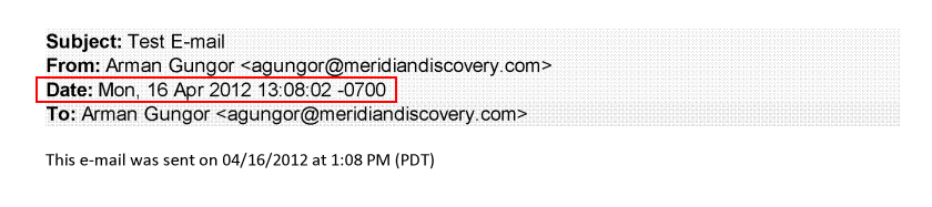 Email Output with Time Zone Offset