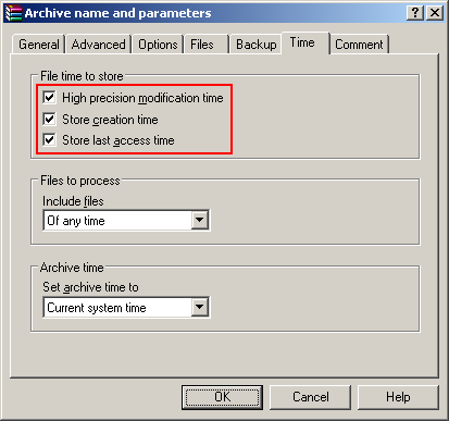 WinRAR Compression Settings for File Containers
